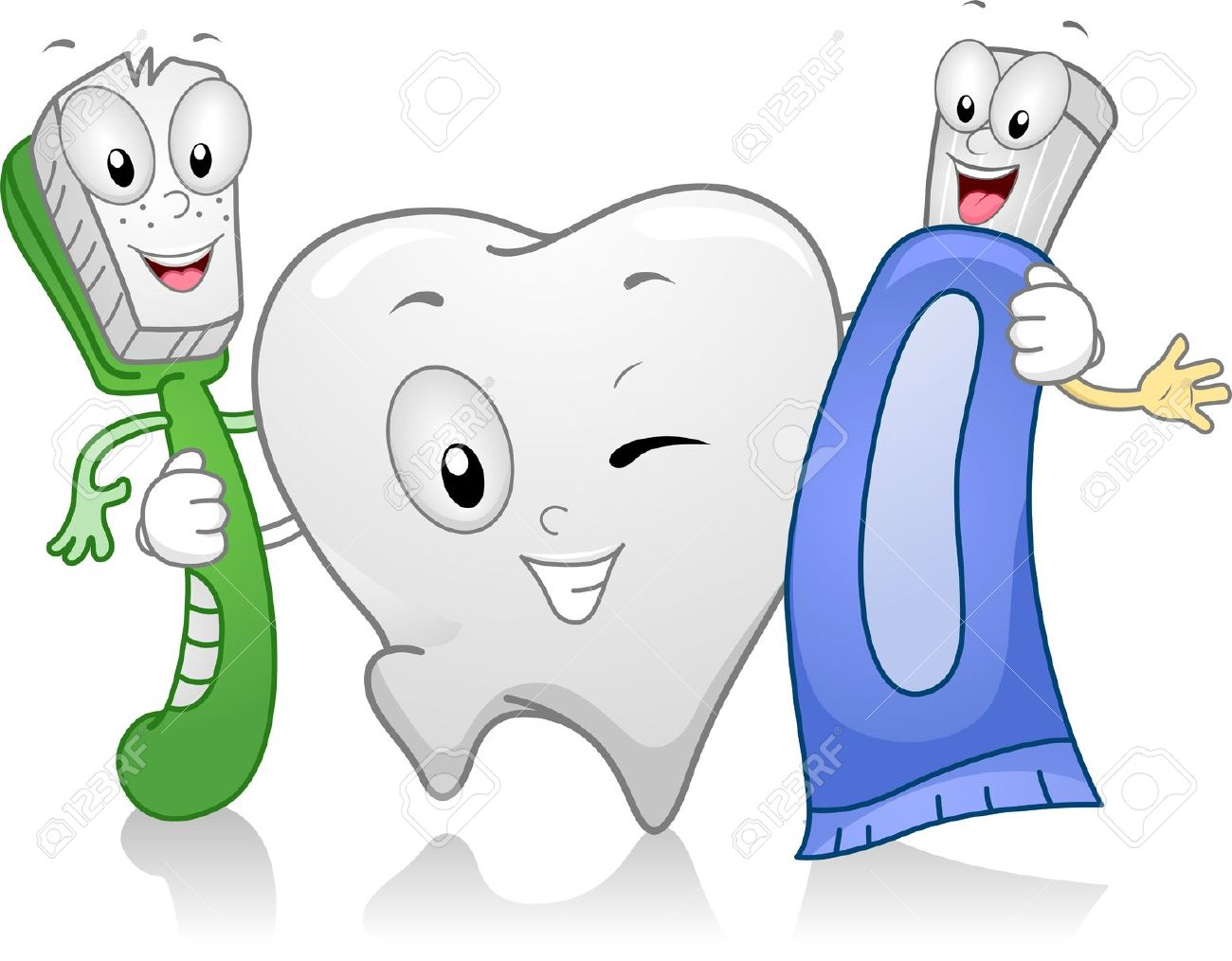 11330171 Illustration Of Dental Products Hanging Together Stock Teeth Cartoon Tooth